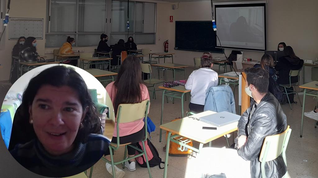 Anxela López Leiceaga durante a videoconferencia